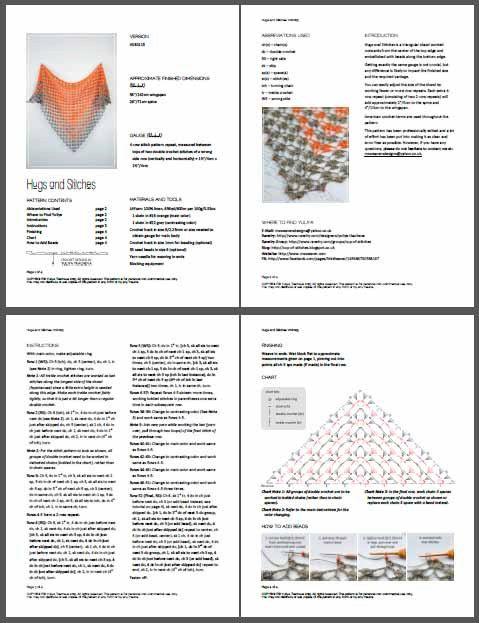 PATRÓN de ganchillo pdf: abrazos y puntadas chal  Este listado está para un ganchillo *** patrón *** con instrucciones en formato PDF de cómo hacer este chal. NO es el artículo terminado.  Tenga en cuenta que este modelo también está disponible como parte de un paquete: https://www.etsy.com/listing/245520157/crochet-pattern-bundle-linen-letters-2?ref=shop_home_active_1  Abrazos y puntadas es un chal triangular trabajado hacia fuera desde el centro del borde superior y embellecido con los…
