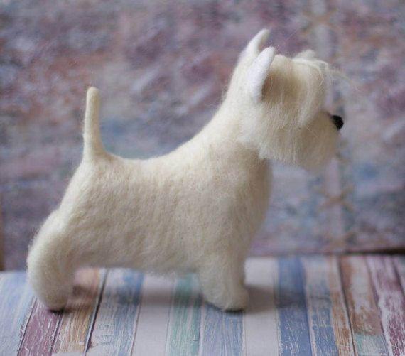 Needle Felted Westie West Highland White Terrier Custom Made