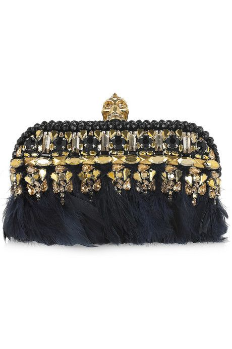 Alexander McQueen - wow: gold, crystal, gleaming black feathers, golden clasp…