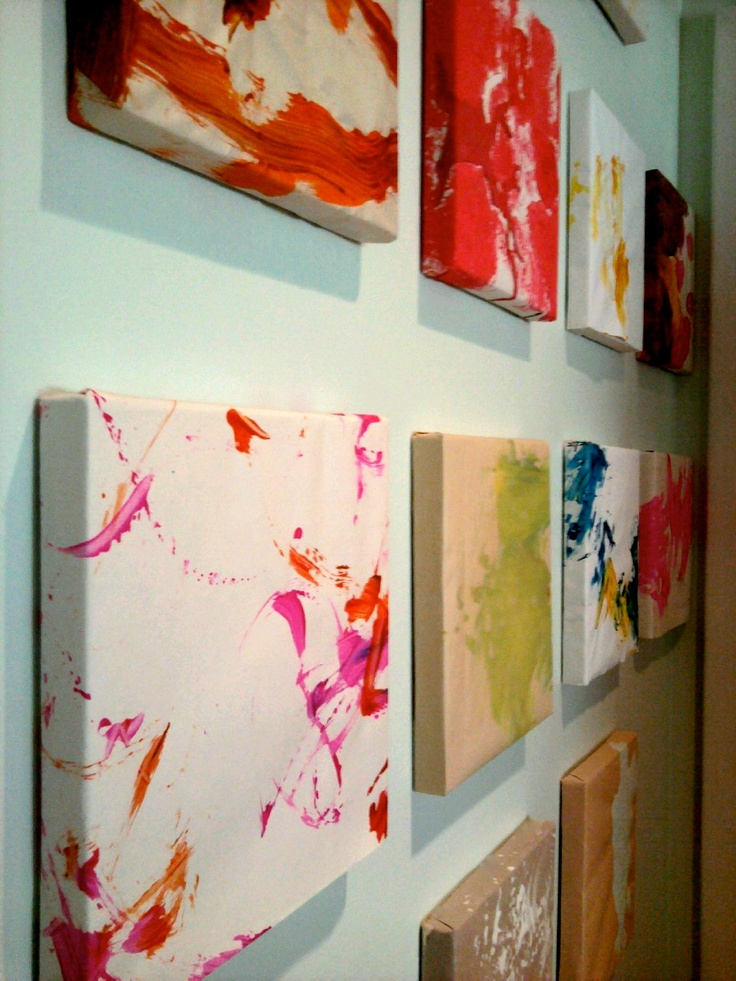 small canvas paintings would be great to have the kids paint on 9 of these and then hang them. Black Bedroom Furniture Sets. Home Design Ideas