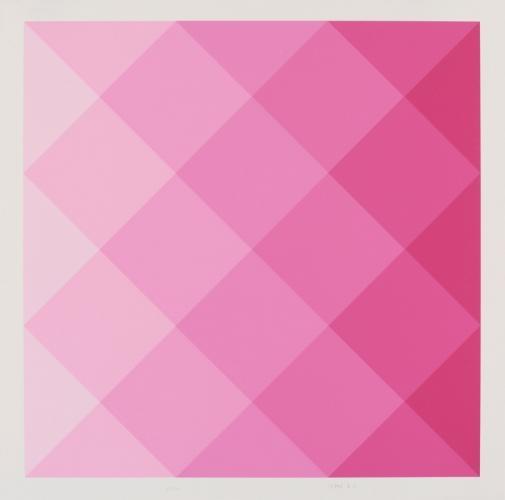 Arnulf Letto -   ohne Titel (geometrische Komposition in Magenta)   1971