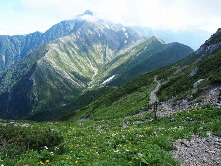 荒川岳お花畑から赤石岳を望む。荒沢岳(前岳)から赤石岳 南アルプス登山ルートガイド。Japan Alps mountain climbing route guide