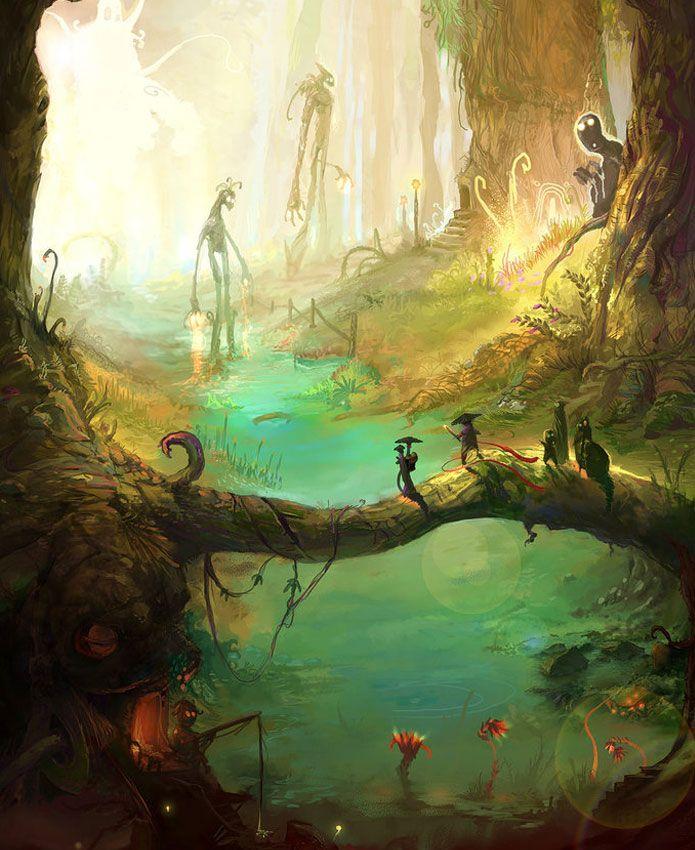 Landscape Illustration Vector Free: 46 Best Fantasy Forest Scene Images On Pinterest