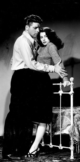 "Burt Lancaster in his first film, ""The Killers"" with Ava Gardner [1946]"