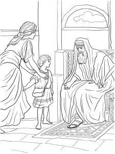 Анна приводит Самуила к Илию. Библейские раскраски скачать с http://alla-kon.livejournal.com/