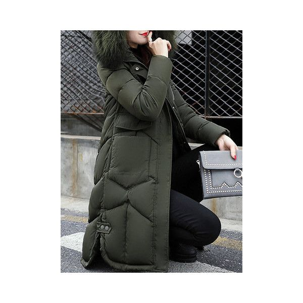Winter Thicken Cotton Down Coats ($51) ❤ liked on Polyvore featuring plus size women's fashion, plus size clothing, plus size outerwear, plus size coats, army green, hooded coat, olive green down coat, green military coat, long sleeve coat and down coat