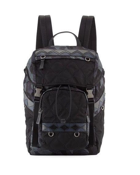 PRADA Tessuto Impunturato Camouflage Backpack, Blue. #prada #bags #