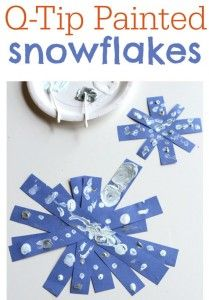 Q-Tip Painted Snowflakes - pinned by @PediaStaff – Please Visit  ht.ly/63sNt for all our pediatric therapy pins