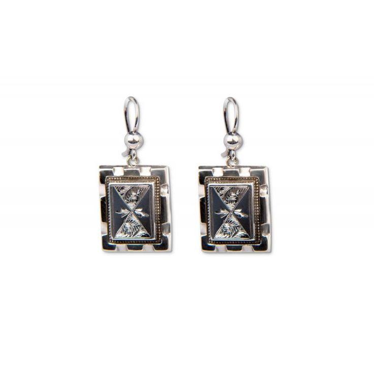 BB903 Victorian Silver Rectangular Drop Earrings