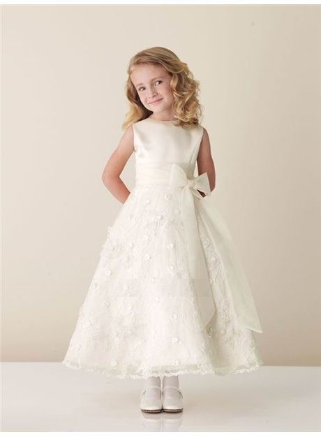 Cheap Amazing A-line Ankle-length Sleeveless Appliques & Bowknot Flower Girl Dress Under Price 89.99 - Gifilight.com
