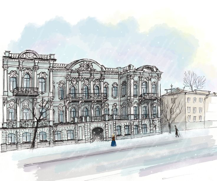 My illustration of the old residence of Elizaveta Buturlina in center of Saint-Petersburg.
