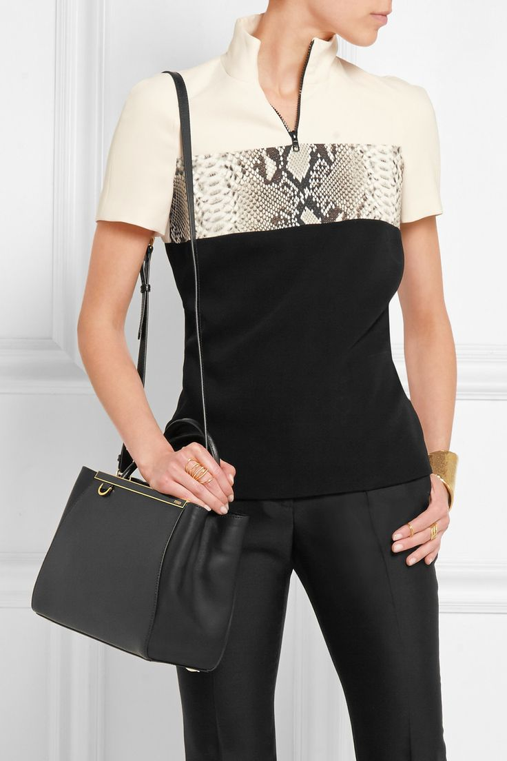 Fendi | 2Jours small textured-leather shopper bag in black | NET-A-PORTER.COM