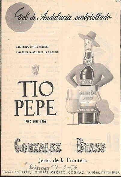 1956 sol de andaluc a 1956 andalusian sun tio for Cartel tio pepe