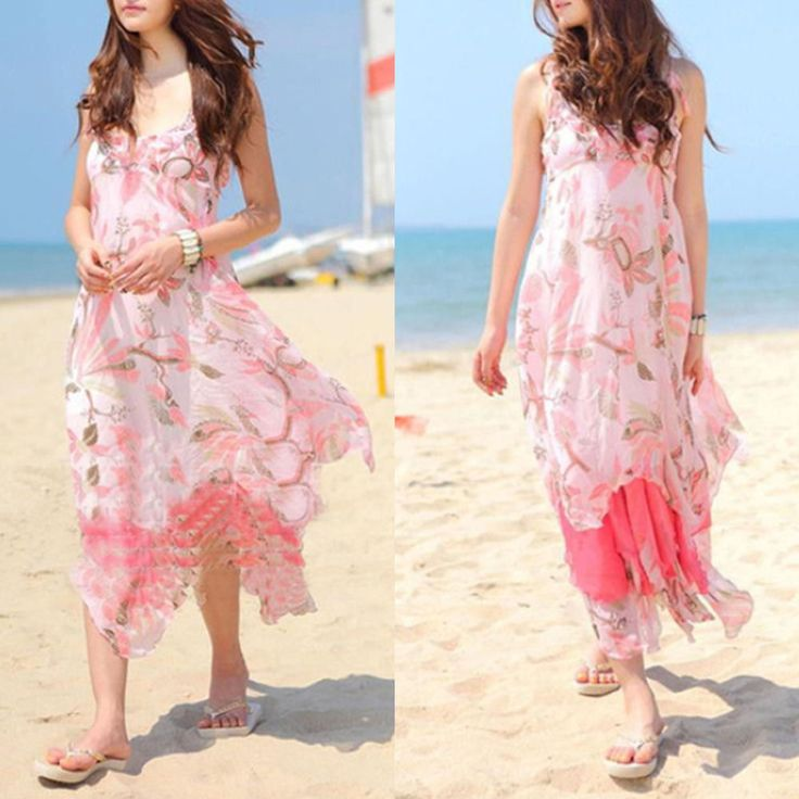 Summer Women Floral V-Neck Beach Boho Maxi Sundress Long Irreguler Dress Pink #New #Sundress