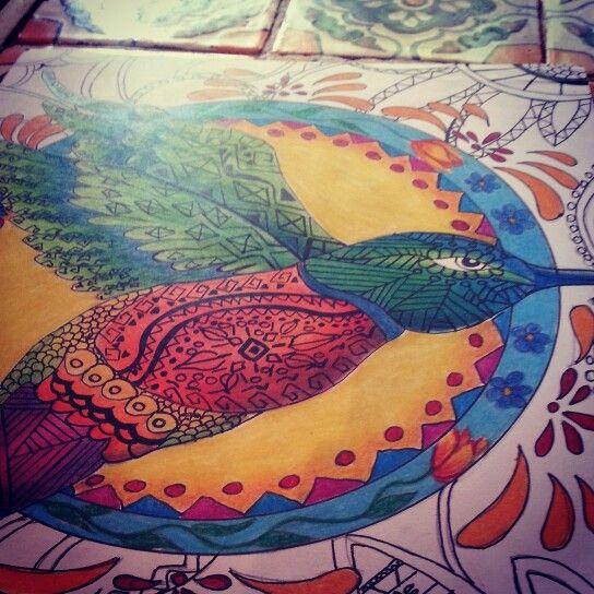 Uitsitsilin  (colibrí en nahuatl) Mixta: estilografo y color sobre papel 28 × 21.5 $500