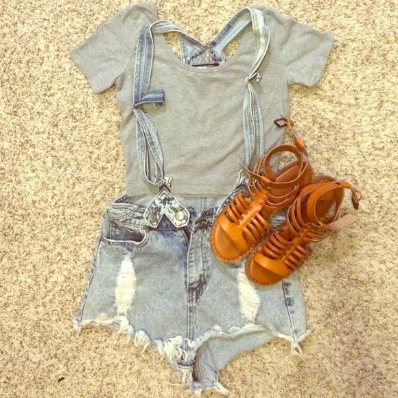 Denim Overall Shorts Light destroyed denim overalls shorts, super cute with a baseball henley and converse! Evenuel Shorts Jean Shorts