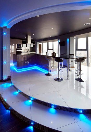Superior Kitchen, Ultra Modern Kitchen Concepts With Beautiful Led Lighting In Blue  Color Choice Decorating Flower And Under Kitchen Island Area Part 24