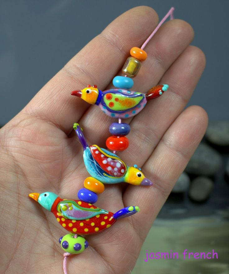 °° WHIMSY BIRDS °° lampwork beads set by jasmin french
