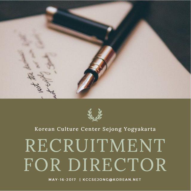 Recruitment for Director - Korean Culture Center Sejong Yogyakarta