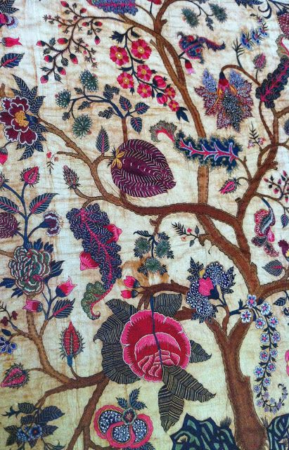 style court: Flower Show. Embroidered mid-18th-century Coromandel Coast palampore. Cotton with silk thread. MFA, Boston. On loan to The Met.