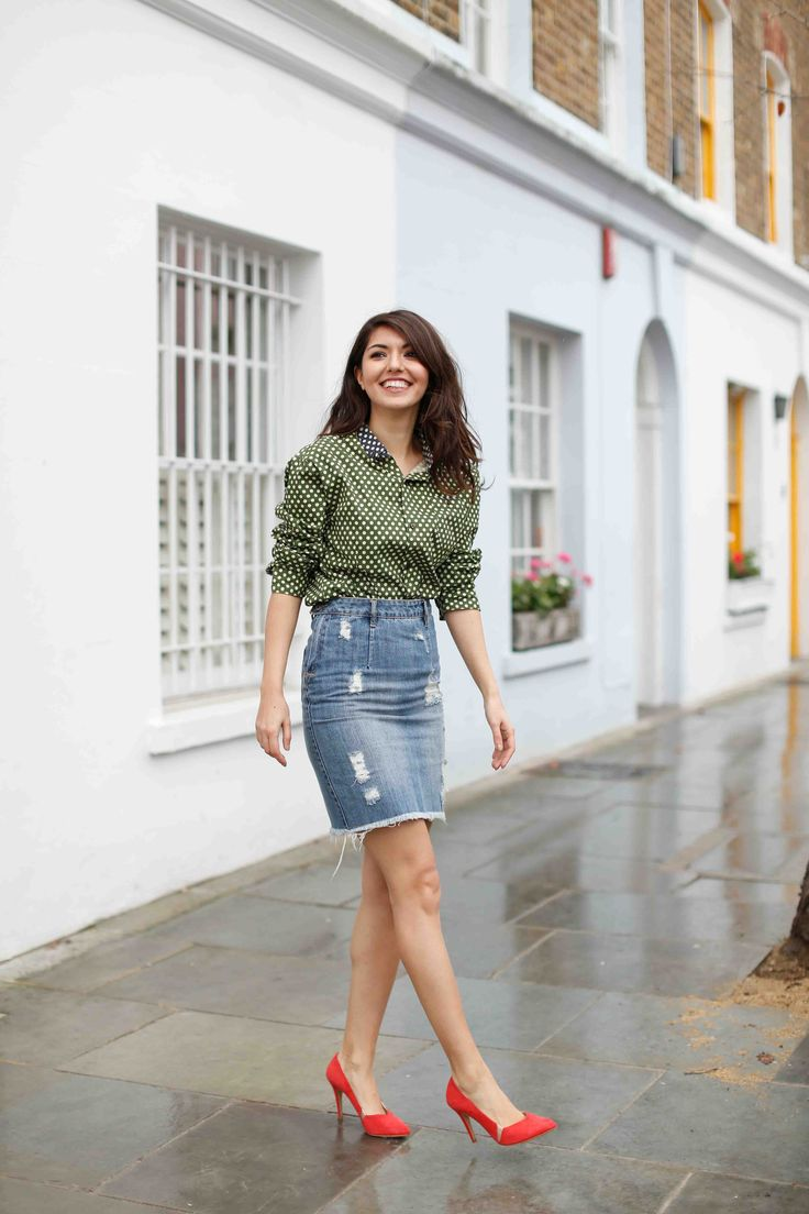 The Denim Skirt is back on trend again - found at more at allabouttara.com