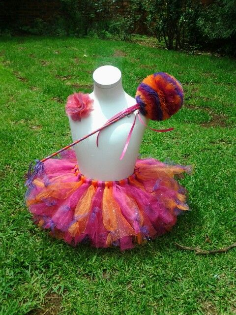 Poofy tutu with matching tulle wand, and tulle flower hair clip