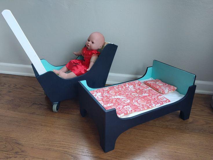 DIY wood doll bed and pram (stroller)