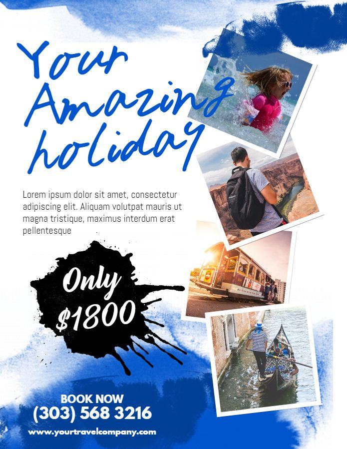 Travel agency promotion pamphlet social media graphic