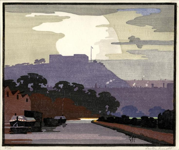 Edward Loxton Knight ( British, 1905 - 1993) Nottingham Canal - Color Woodcut