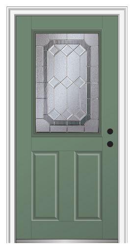 Shown is a Majestic Elegance 1/2 Lite 2-Panel Entry Door Painted Rosemary. Visit DoorBuy.com!