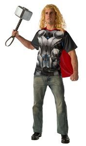 Avengers 2: Age of Ultron Thor Adult Mens T-Shirt & Mask - 352490 | trendyhalloween.com #menscostumes