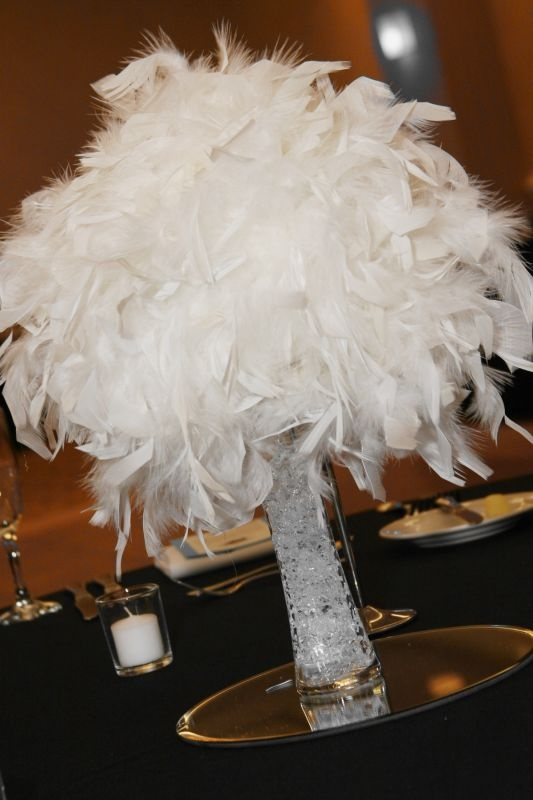 White Malibu Feather Centerpieces Kissing Vases And Bouquets Wedding Black Blue