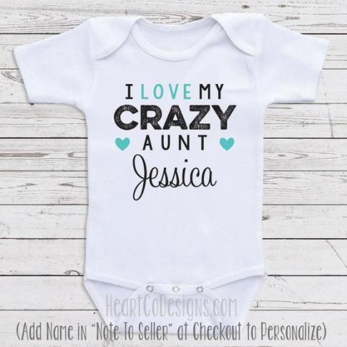 Boy I Love My Crazy Aunt Baby Bodysuit Baby Shower Gift for Girl