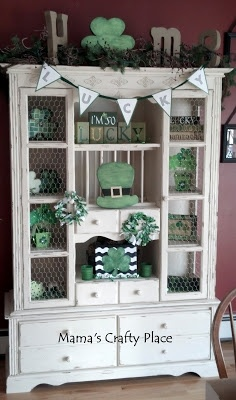 St. Patrick's Day decorated hutch 2013