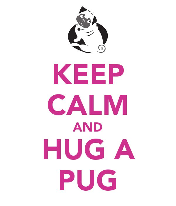 KEEP CALM AND HUG A PUG; if inly this could fix all my problems!!
