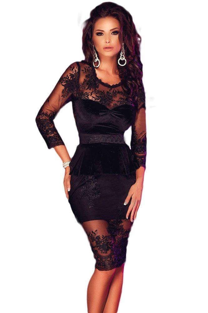 Midi jurk zwart lange mouw