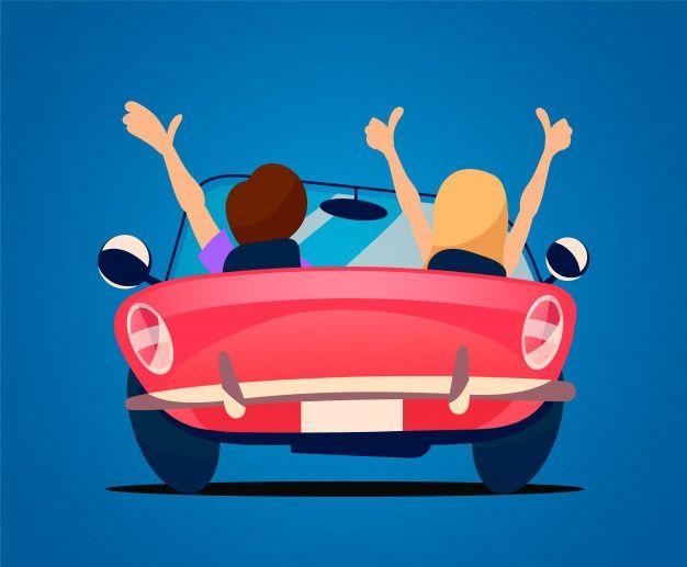 Liebhaber Fahren In Einem Roten Cabrio Cabriolet Rijden Auto