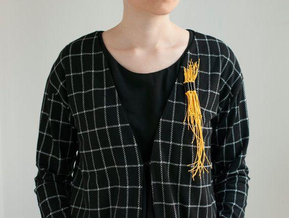 Modern Yellow Black Brooch Rubber and Fiber Brooch