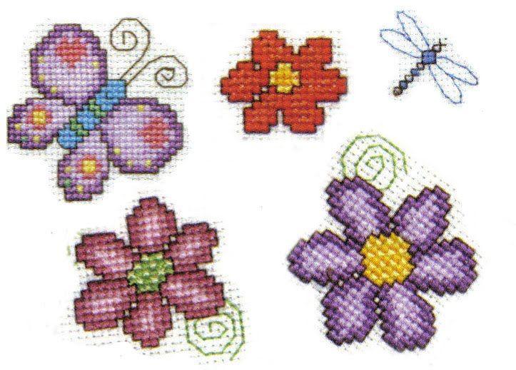 Bordados en punto cruz flores pequeñas - Imagui