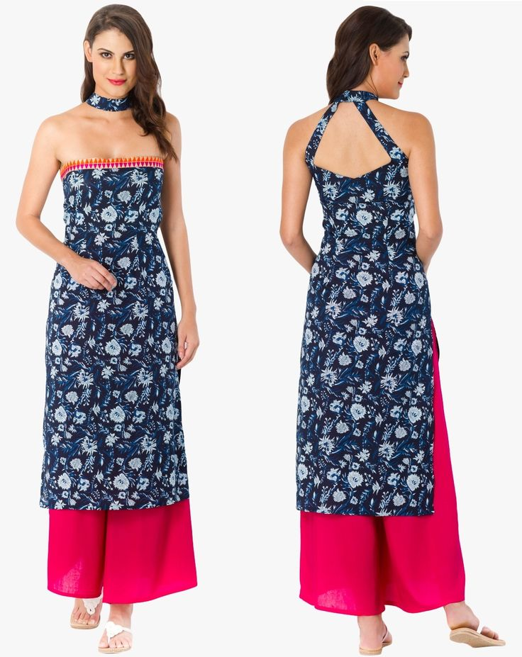 Flaunt sartorial elegance as you wear this strapless kurta from the house of Desi Weaves. #Blue #Strapless #Kurti #IndoWestern