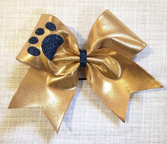 Paw print cheer bow navy blue glitter on gold by anniemaeandwes cheer cheer bows blue - Cute cheer bows ...