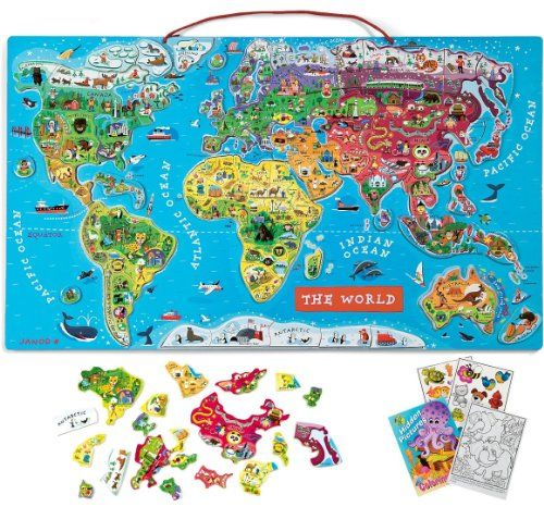 Janod Magnetic World Puzzle with Coloring Book #3years