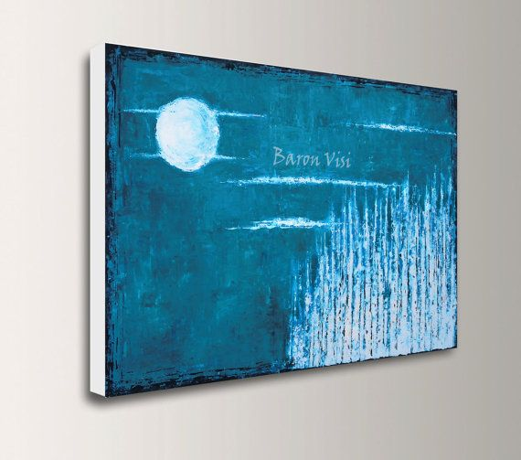 blue teal turquoise Abstract Painting Acrylic art by baronvisi