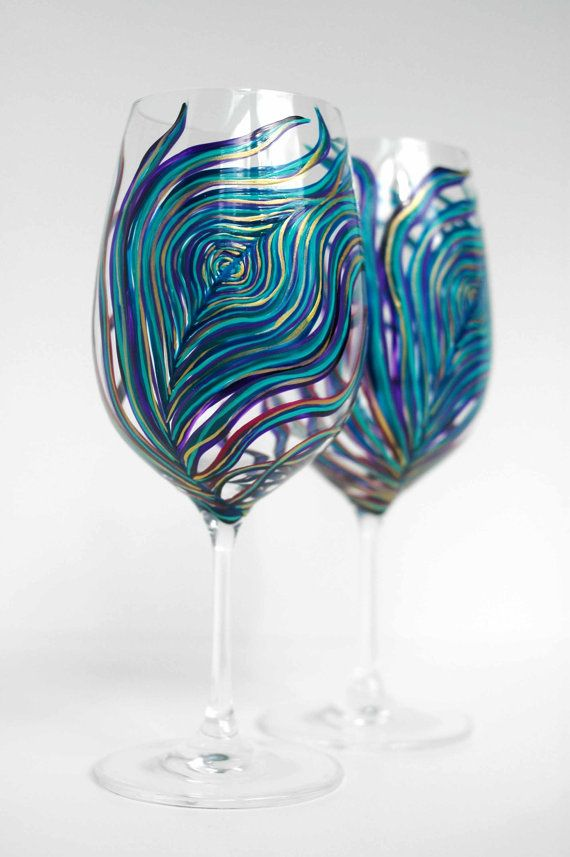 Peacock Wine Glasses -- Set of 2 Hand Painted Peacock Feather Glasses in Amethyst and Sapphire on Etsy, $68.00