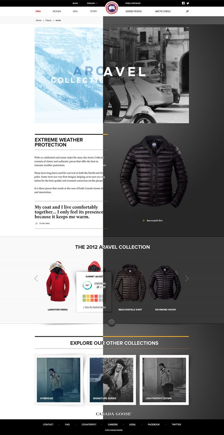 Canada Goose | #webdesign #it #web #design #layout #userinterface #website #webdesign < repinned by www.BlickeDeeler.de | Take a look at www.WebsiteDesign-Hamburg.de
