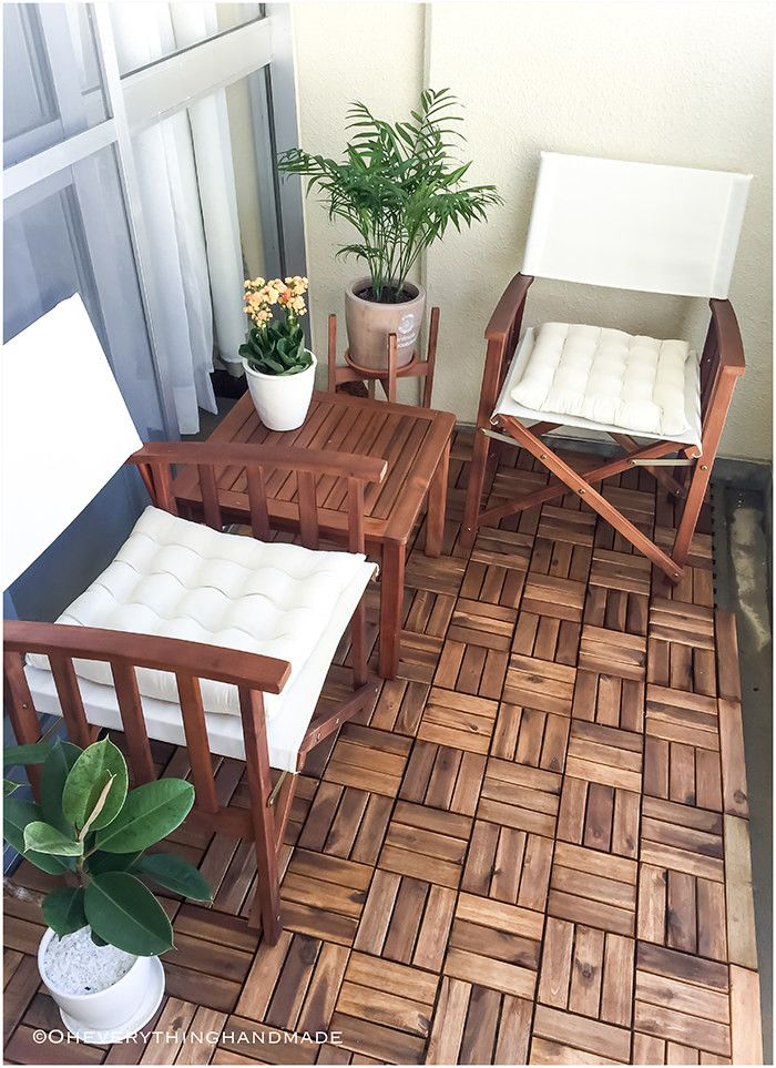 Mask an ugly concrete balcony surface with interlocking teak flooring tiles that can be easily uninstalled. | 28 Simple Ways To Improve Your Home In 2017