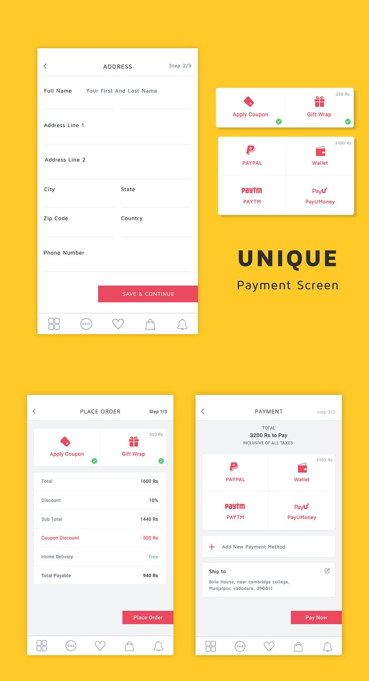 "Ecommerce Unique Payment UI Screens , supported in android and photoshop. Download today from Code canyon ""Shoppy Ecommerce"""