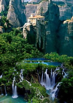 Beautiful photo; however it is photoshopped--Meteora, Greece on the top, Plitvice, Croatia on the bottom!