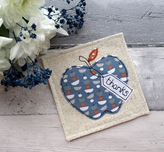 Fabric Coaster Apple Coaster Thank You Gift Gift For Him