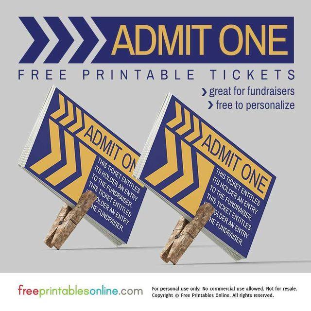 Retro Angular Admit One Fundraiser Ticket
